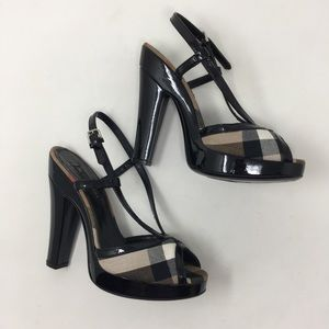 Burberry black patent check peep toe heels